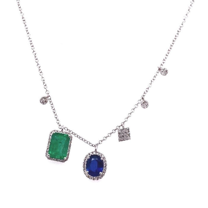 Meira T 14kt White Gold Emerald + Sapphire Asymmetrical Diamond Charm Necklace