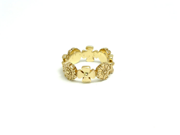 Exclusive 14kt Ornate Flower Eternity Band Ring