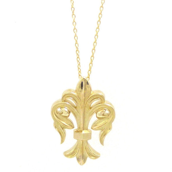 Exclusive 14kt Ornate New York Fleur Di Lis Pendant Necklace