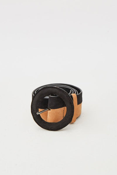 Round Buckle Suede Belt