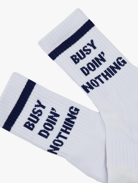 "Baby Steps ""Busy Doing Nothing"" Tube Socks in White and Blue"