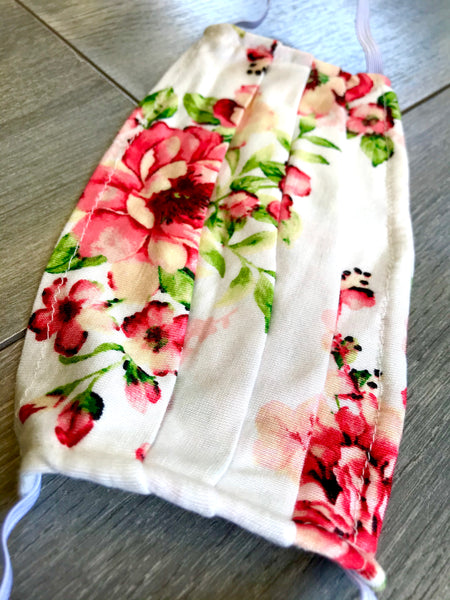 Face Mask in White Floral