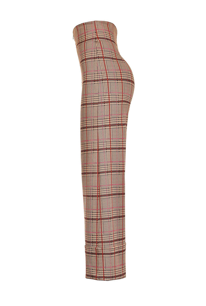 TRAPELARE PANTALONE PUNTO Wide Leg Plaid Trousers