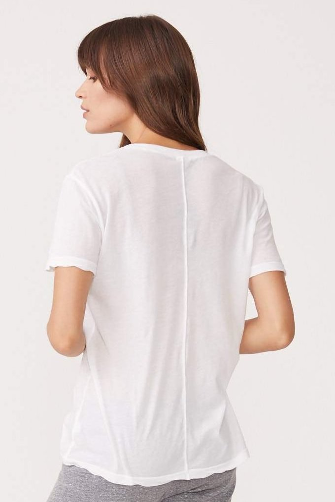 White Relaxed V-Neck Tee in White