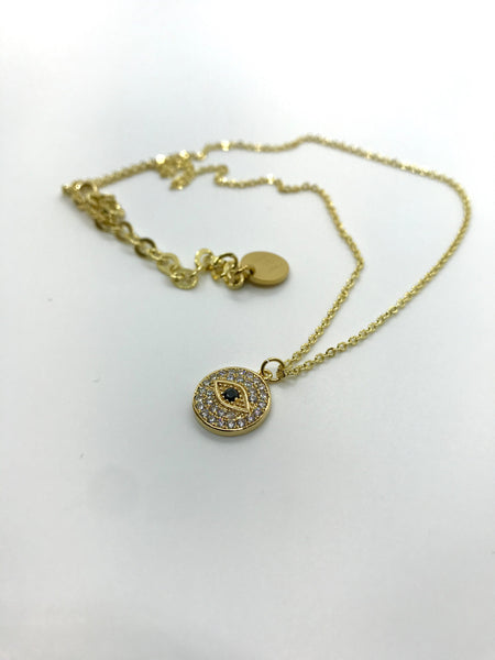 Always Watching Evil Eye Plate Necklace