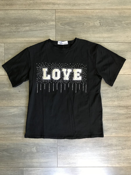Black Sequin Love Tee