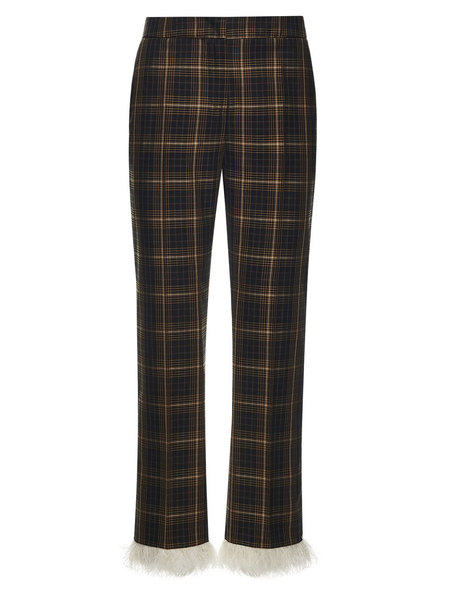 Plaid Trousers with Feathers