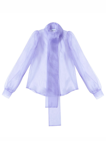 Organza Bow Button Up