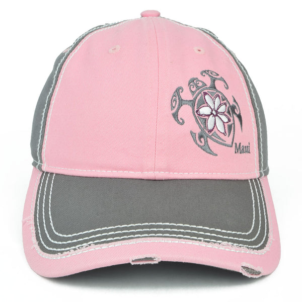 Flower Honu2 (Turtle) Distressed Hat