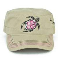 Flower Honu (Turtle) Military Hat