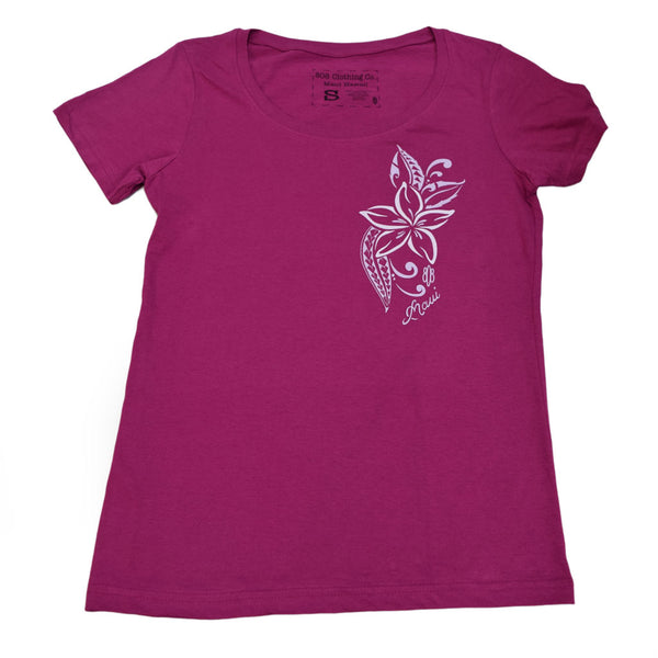 Plumeria Scoop Neck Ladies T-Shirt - Small only