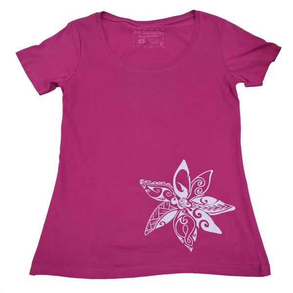 Maui Flower Scoop Neck Ladies T-Shirt (Small, Medium, Large, X-Large Only)