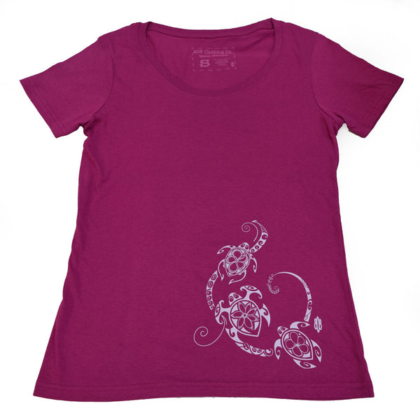 Three Flower Honu Scoop Neck Ladies T-Shirt- (Small and Large Only)