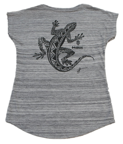 Tribal Mo'o Gecko V-Neck T-Shirt