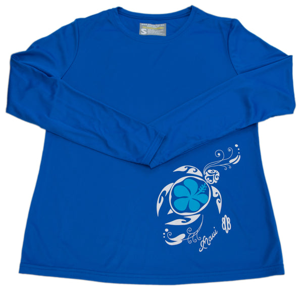 Ladies Performance Flower Honu T-shirt Long Sleeve (Small only)