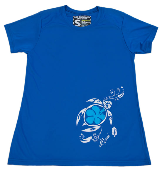 Ladies Performance Flower Honu T-shirt (Small,X-Large,XX-Large only)