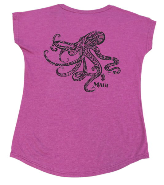 Tribal He'e Octopus Ladies V-Neck T-Shirt