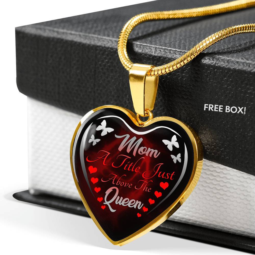 Mom Queen Heart Pendant Luxury Necklace Jewelry