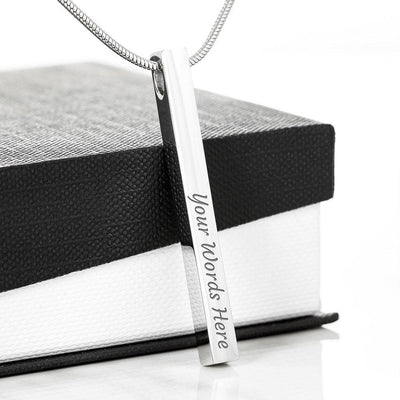 Two Side Vertical Bar Necklace Jewelry Engraved Stick Necklace - 2 Sides (Stainless Steel)