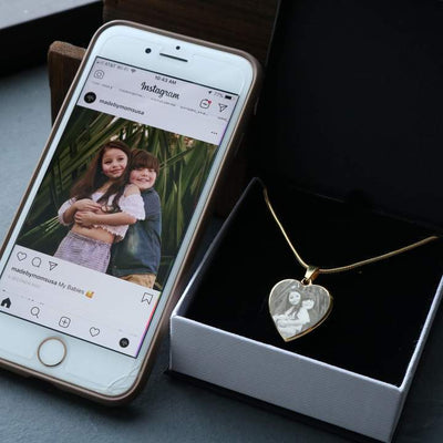 Personalized Photo Etched Heart Necklace Jewelry