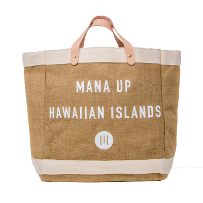 Mana Up Hawaiian Islands Burlap Tote Bag