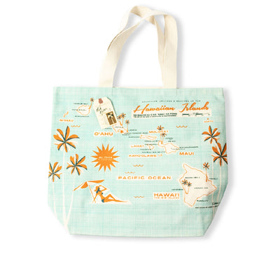 Hawaiian Islands Map - Canvas Beach Tote Bag