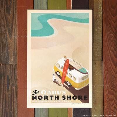 See O'ahu's North Shore - 12x18 Hawai'i Travel Print