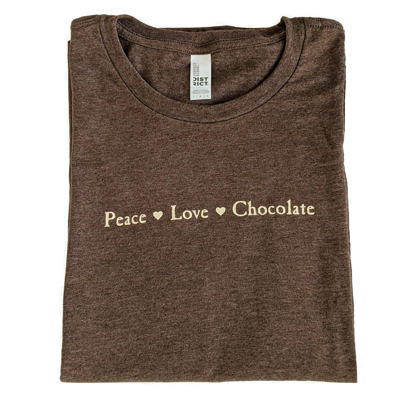 Peace Love Chocolate T-shirt (with hearts)