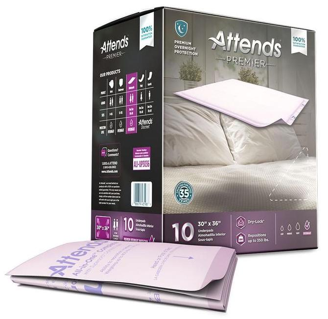 Attends Premier Underpad, Overnight, Low-airflow mattress protection