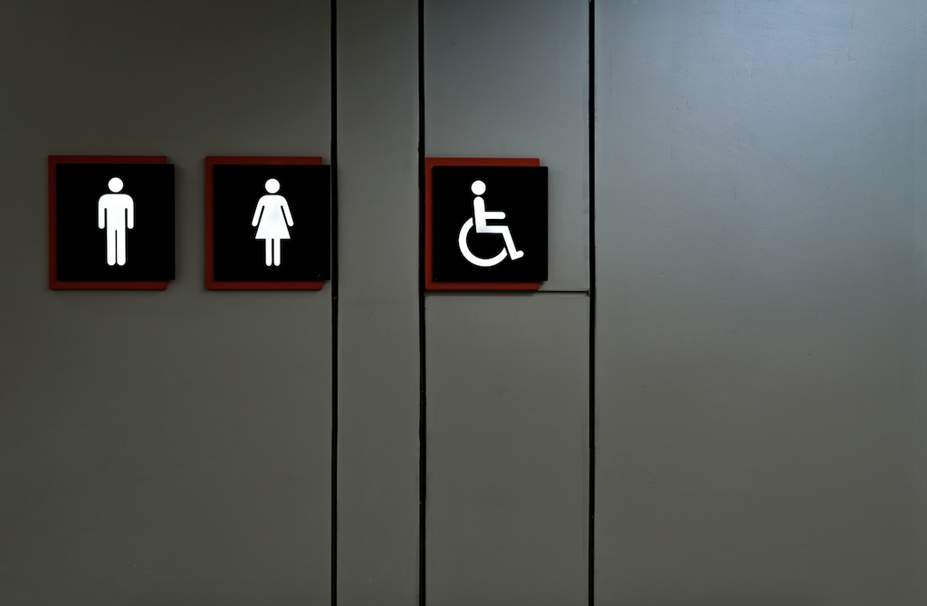 Mixed incontinence, restroom sign