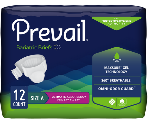 Prevail Bariatric Adjustable Unisex Briefs, Ultimate absorbency, Breathable, Odor-free