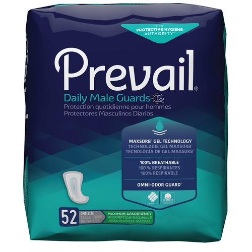 Prevail Incontinence Guards for Men, Maximum absorbency, Breathable, Secure fit