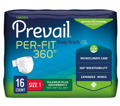 Prevail Per-Fit 360 Unisex Tabbed Brief, Maximum absorbency, Super breathable, Adjustable