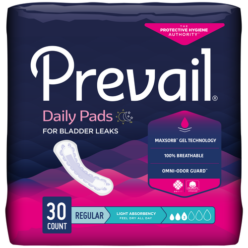 """Prevail Ultra-Thin Incontinence Pads for Women, 9.5"""", Light absorbency, Individually-wrapped, Secure fit"""