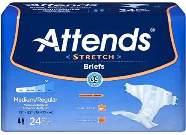 Attends Care Unisex Tabbed Brief, Moderate absorbency, Refastenable Tabs