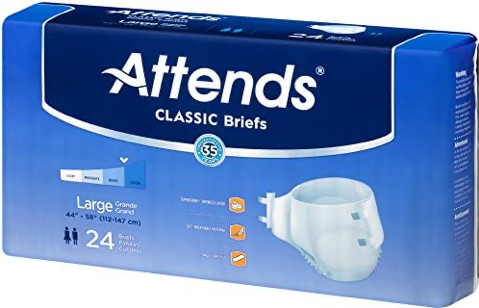 Attends Classic Unisex Tabbed Brief, Heavy absorbency, Wetness Indicator