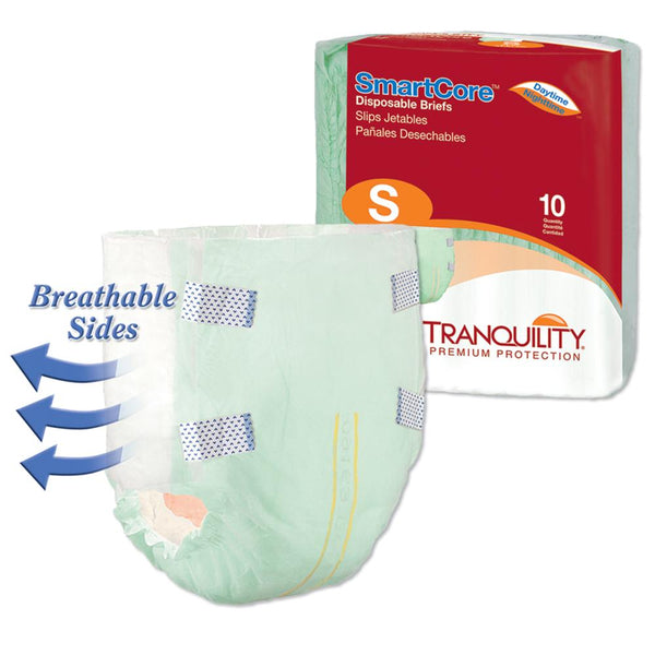 Tranquility SmartCore Unisex Tabbed Brief, Heavy absorbency, Wetness indicator Small - 10/Pack