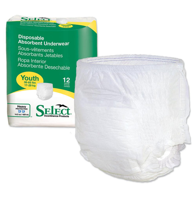 Select Disposable Absorbent Pull Up Underwear, Heavy absorbency, Tear-away sides Youth - 12/Pack