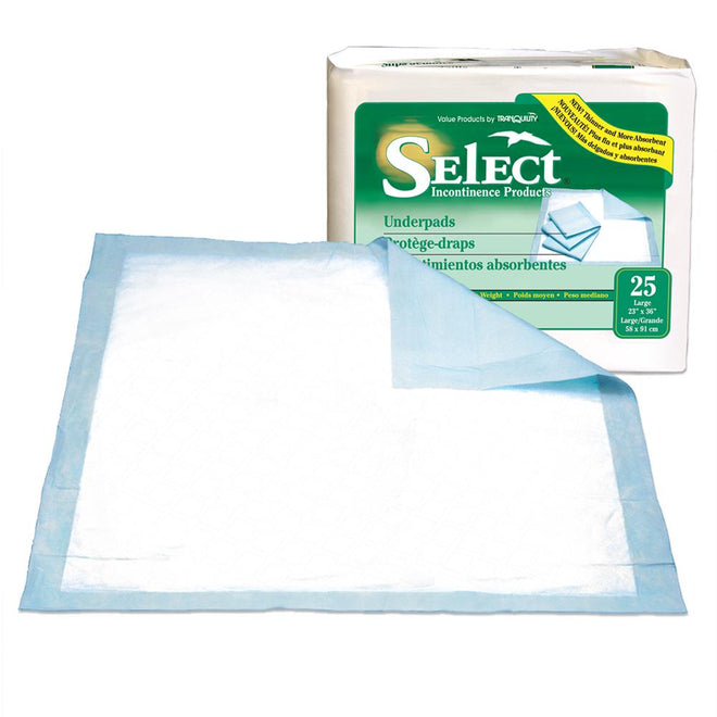 Select Thin Mat Disposable Underpad, Ultra thin, Latex-free 30/Pack