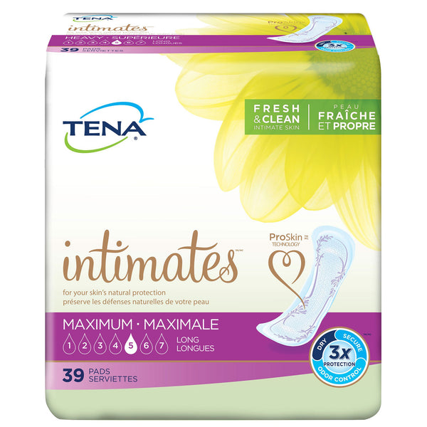 TENA Women's Intimates Maximum Pads, Heavy absorbency, Individually packaged Maximum - 39/Pack