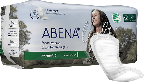 Abena Unisex Underwear Liners, Light absorbency, Breathable, Latex-free Normal 2 - 12/Pack