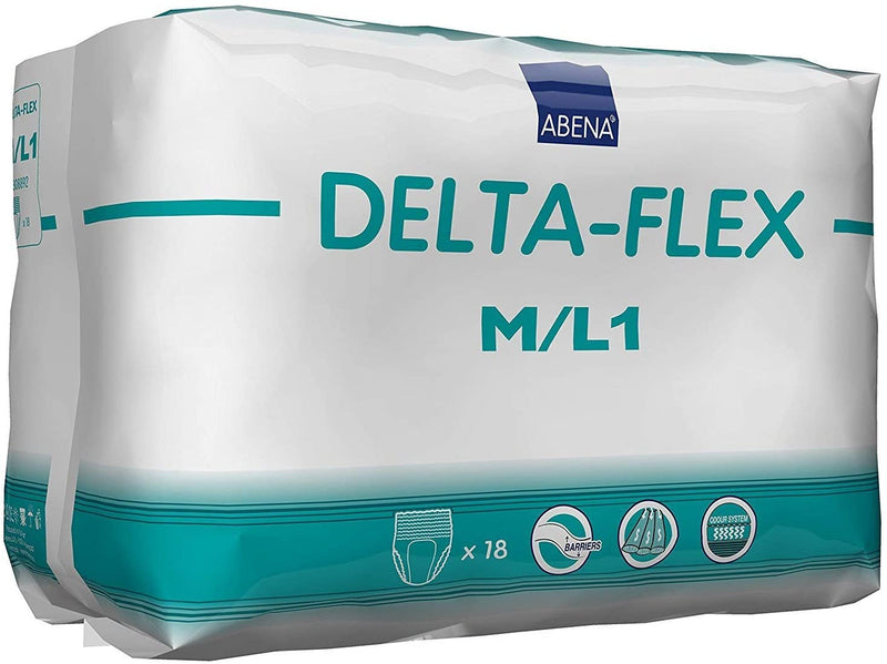 Abena Delta-Flex Unisex Pull Up Underwear, Heavy absorbency, Latex-free Level 1 - Medium/Large - 18/Pack