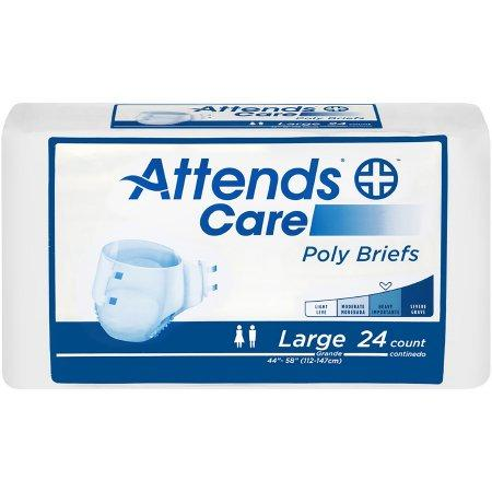 Attends Care Unisex Tabbed Brief, Moderate absorbency, Refastenable Tabs Large - 24/Pack