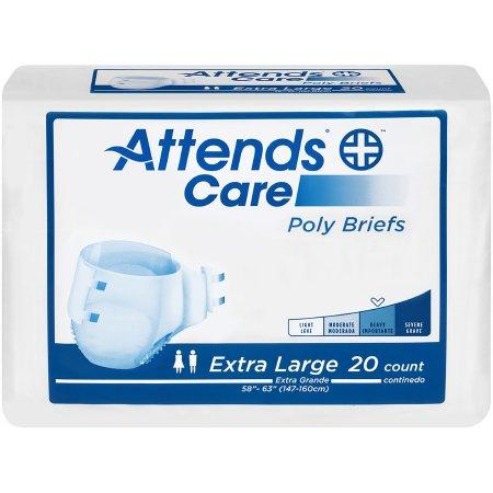 Attends Care Unisex Tabbed Brief, Moderate absorbency, Refastenable Tabs X-Large - 20/Pack