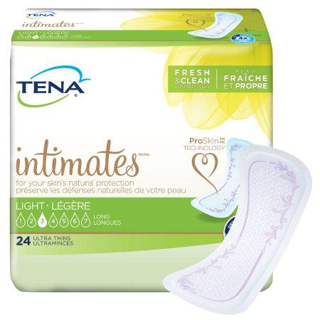"TENA Women's Intimates Ultra Thin Light Pads, Light absorbency, Discreet Long - 10"" - 30/Pack"