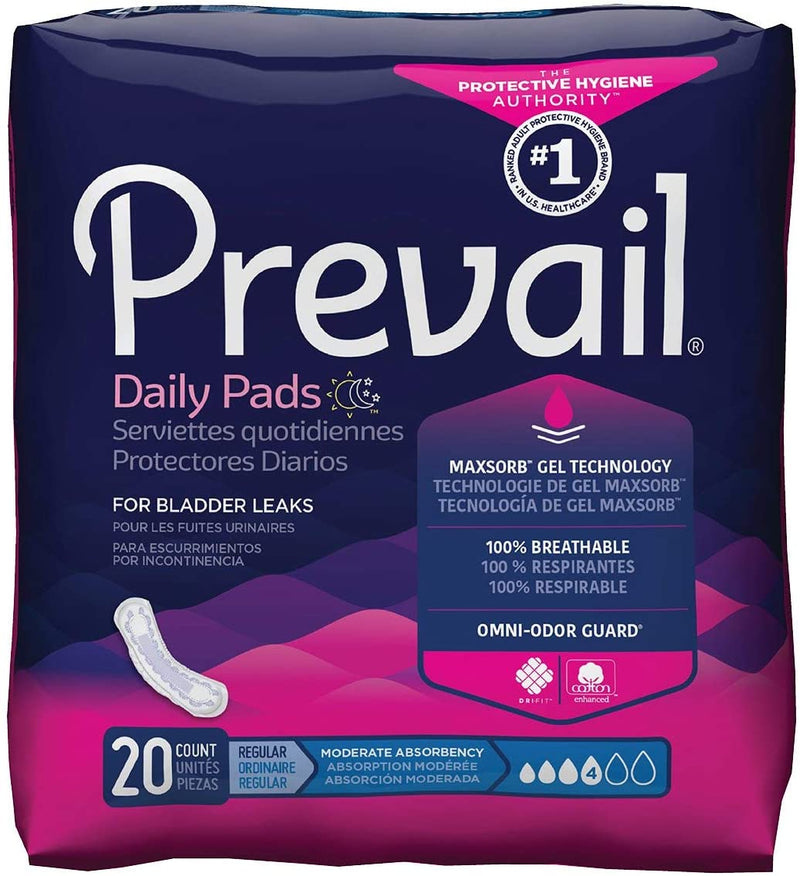 Prevail Regular Feminine Pad, Moderate absorbency, Individually-wrapped, Secure fit Moderate - 20/Pack