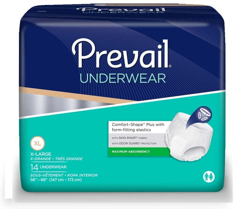 Prevail Extra Unisex Pull Up Underwear, Heavy absorbency, Breathable, Latex-free X-Large - 14/Pack