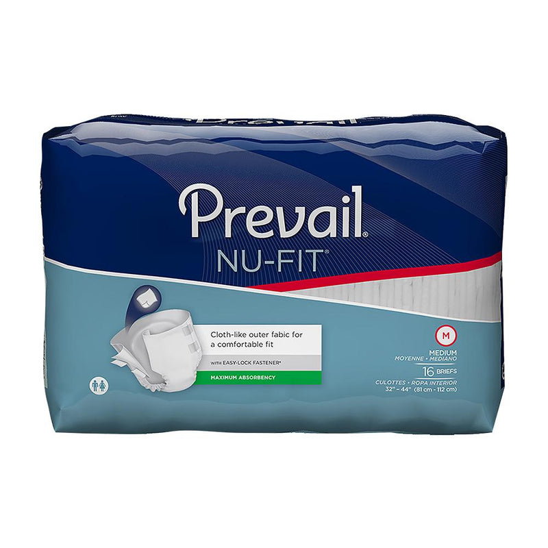 Prevail Nu-Fit Unisex Tabbed Brief, Urinary & Fecal incontinence, Maximum absorbency, Odor-free Medium - 16/Pack