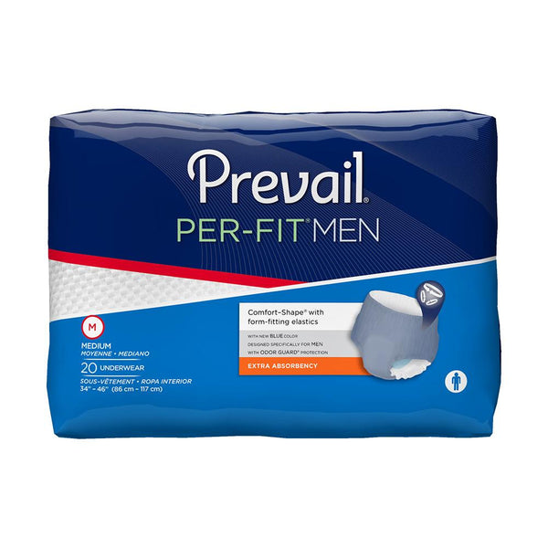 Prevail Per-Fit Men's Pull Up Underwear, Heavy absorbency, Breathable, Discreet fit Medium - 20/Pack