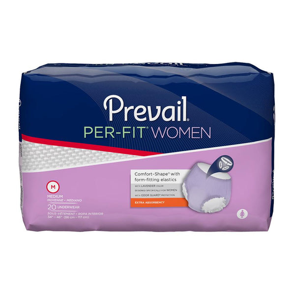 Prevail Per-Fit Women's Pull Up Underwear, Heavy absorbency, Breathable, Stretch waist Medium - 20/Pack